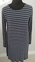 Old Navy Women's Blue/White Striped Long Sleeve Swing Top/Dress Size M.