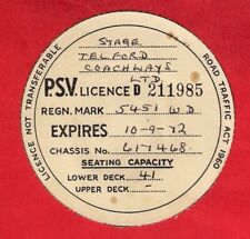 More details for bus psv licence disc 1972 ~ telford coachways 5451wd - 1962 leyland tiger cub