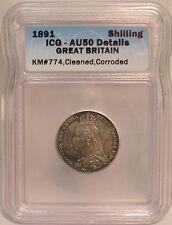 1891 Great Britain UK Silver Shilling - ICG Certified AU Details KM# 774