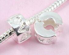 10pcs Silver/P Love Clip Lock Stopper Beads Fit European Charm Bracelet K10