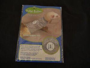 Biddie Buddies Ferret Graphic Gray Baseball Tee Shirt ALL STARS LARGE
