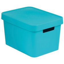 Aufbewahrungsbox mit Deckel aus Kunststoff  Plastikbox 36x27x22 cm türkis CURVER