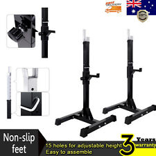 2x Squat Rack Bench Press Home Gym Fitness Weight Lifting Barbell Stand Dip Bars