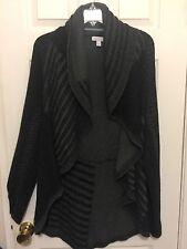 Charter Club L open Front Cardigan Sweater Long Sleeve Black & Gray Women