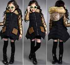 winter children's clothing girls thick fur collar coat casual jacket Age 4-14