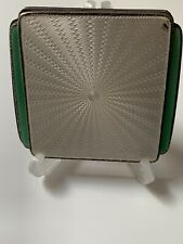 Goldsmith & Silversmiths Art Deco Solid Silver & Guilloche Enamel Compact 1936
