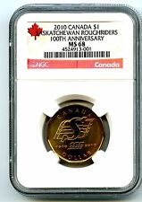 2010 CANADA $1 SASKATCHEWAN ROUGHRIDERS NGC MS68 DOLLAR LOON LOONIE TOP POP=1