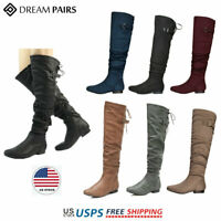 DREAM PAIRS Womens Over The Knee Boots Thigh High Slouch Suede Low Heel Boots
