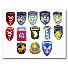 """Postcard-""""Airborn Units Patches"""" /Picture on postcard/ (B501)"""