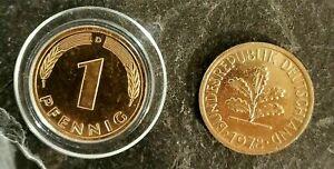 10X 1 echter Pfennig vergoldet / Glückspfennig, Goldpfennig, Geburtstagspfennig
