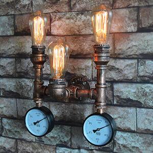 E27 Wandleuchte Vintage Retro Eisen Rohr Wand Lampe Wasserrohr Industrielampe