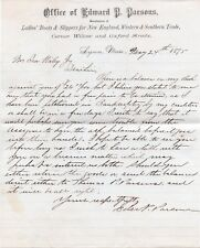 Vintage 1875 Edward D. Parsons Ladies Boots Hand Signed Letterhead - Lynn Mass