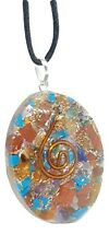 Orgone Oval  Pendant Seven Chakra Orgonite Reiki Charged Lace Cord Necklace EMF