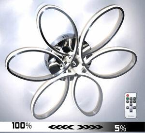Dimmbar XXXL 100cm LED Deckenlampe Deckenleuchte Blume Neutralweiß 60W Silber