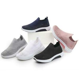 LADIES SLIP ON SOCK SNEAKERS DIAMANTE TRAINERS GYM SPORTS PUMPS WOMENS SHOE SIZE