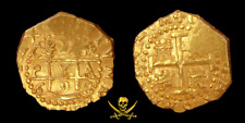 PERU 1698 CUZCO 2 ESCUDOS 1715 FLEET PIRATE GOLD COINS SHIPWRECK TREASURE