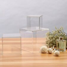 Clear Cube Acrylic Display Show Box Perspex Case Dustproof Protection 3 Sizes