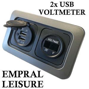 12v CBE C-Line Dual Double USB Socket Charger Voltmeter Campervan Caravan