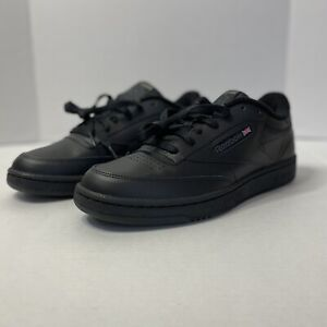 Reebok Mens NPC II 6836 Leather All Black Fashion Casual Sneakers Size 10.5
