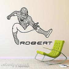 Personalised Name Spiderman Super Hero Boys Bedroom Vinyl Wall Art Sticker
