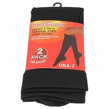 Ladies Black 140 Denier Heat Guard Thermal Knee High Socks Sk189 UK One Size 4-7