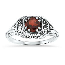 GENUINE GARNET ANTIQUE FILIGREE DESIGN 925 STERLING SILVER RING SIZE 5,     #18