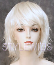 White Medium Layered Flippy Costume Cosplay Party Synthetic Hair Wig SAKH SNOW