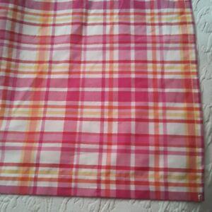 Pottery Barn Teen Orange, Hot Pink, Yellow, White Plaid Full Tailored Bed Skirt
