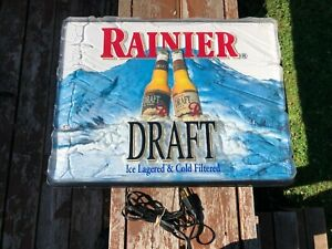 Vintage 1991 Rainier Brewing Draft Beer Lighted Bar Store Sign Mountain Ice Look
