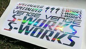 s-works specialized venge iridescent chrome rainbow stickers decals frame logo