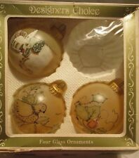 Christmas by Krebs ~ 3 Vintage Hand Painted Ornaments with Crown Cap ~ Vguc