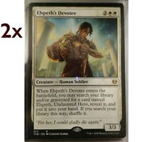 MTG- 2x NM Elspeth's Devotee - White Creature- Theros Beyond Death THB -Unplayed