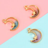 10Pcs Women Moon Star Charm Pendant For Bracelet Necklace DIY Jewelry Making