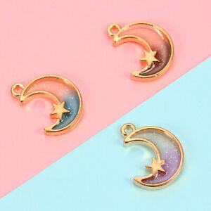 10Pcs Women Moon Star Charm Pendant For Bracelet Necklace DIY Jewelry Making