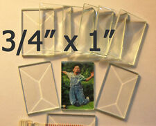 """(10 Pack) Tiny 3/4 x 1"""" Clear Glass Bevel Rectangles beveled Top & Flat Back"""