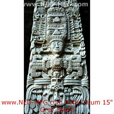 "History Aztec Maya Artifact Carved Otum Sun Stone Sculpture Statue 15"" Tall"