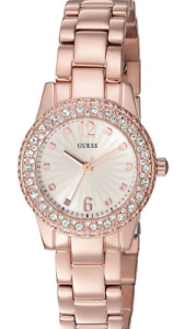 GUESS WOMEN'S WATCH U0889L3  ROSE-TONE PETITE SILVER DIAL CRYSTAL-ACCENTED BEZEL