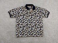 Splatt Golf Ball Polo Shirt Mens Large Blue White All Over Funny Loud Party