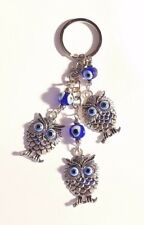 Lucky Three Owls Hanging Key Chain Ring Feng Shui Blue Evil Eye Protection  NEW d42c8017ae