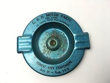 Vintage 1955 Forest City, Iowa Centennial G&H Motor Parts Ashtray Deco Style