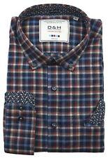 D & H DUBBIN & HOLLINSHEAD Herren Hemd Oberhemd Freizeithemd Blau Braun L XL