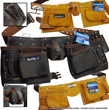 HEAVY DUTY Leather Tool Belt Work Pouch Builders Nail Bag Work Apron Oil Tanned
