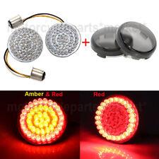 2'' 1157 Bullet Turn Signal Red/Amber LED Light w/Lens Cover For Harley Dyna