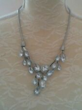 Necklace, Silver Colour Stone & Snake Chain Necklace, Unworn Necklace