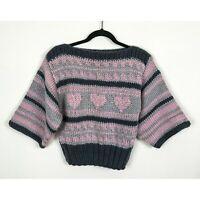JF Adams Three Hearts Hand Knit Sweater Size M