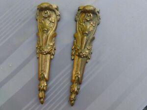 Ancien FRONTON Ameublement Déco Meuble Pied Ornement Bronze Napoleon