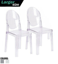 Set Of 2 Modern Transparent Plastic Side Accent Acrylic Dining Armless With Back