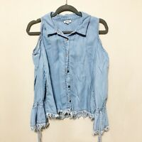 Splendid Women's Chambray Denim Cold Shoulder Shirt Blouse Size Large L Blue