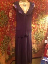 STUNNING FLOATY LONG DRESS BY PER UNA SIZE 10L, PURPLE BERRY COLOUR, FULLY LINED