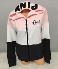 NWT Victoria's Secret PINK Logo FULL ZIP GRAPHIC HOODIE Tricolor Size Small